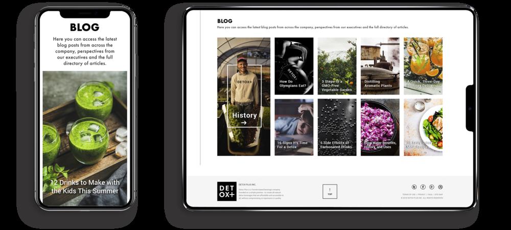 Toronto branding design consultancy – Detox Plus E commerce Web Responsive Design – Desktop and mobile interface, Blog