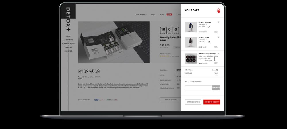 Toronto branding design consultancy – Detox Plus E commerce Web Responsive Design – Desktop and mobile interface, your cart page