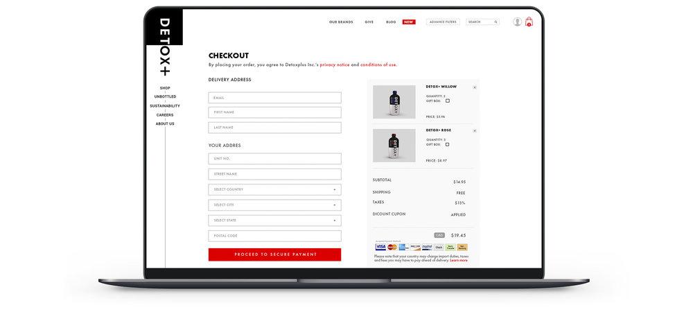 Toronto branding design consultancy – Detox Plus E commerce Web Responsive Design – Desktop and mobile interface, Checkout page