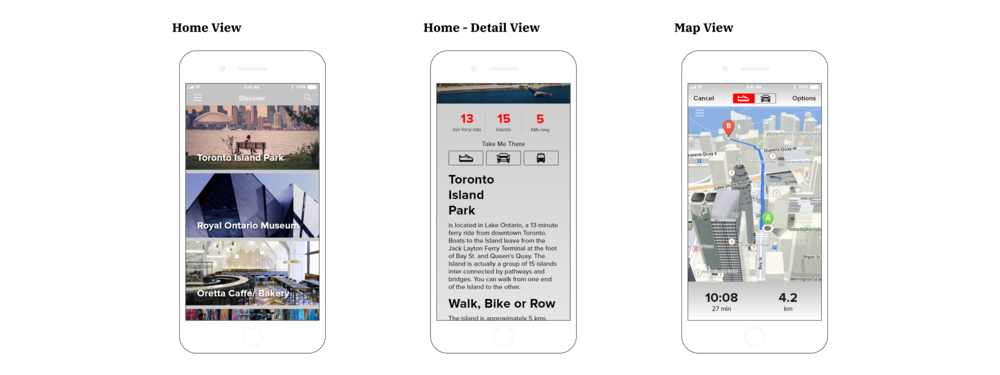 Toronto City Guide Application - User Interface design, Home and Map view pages