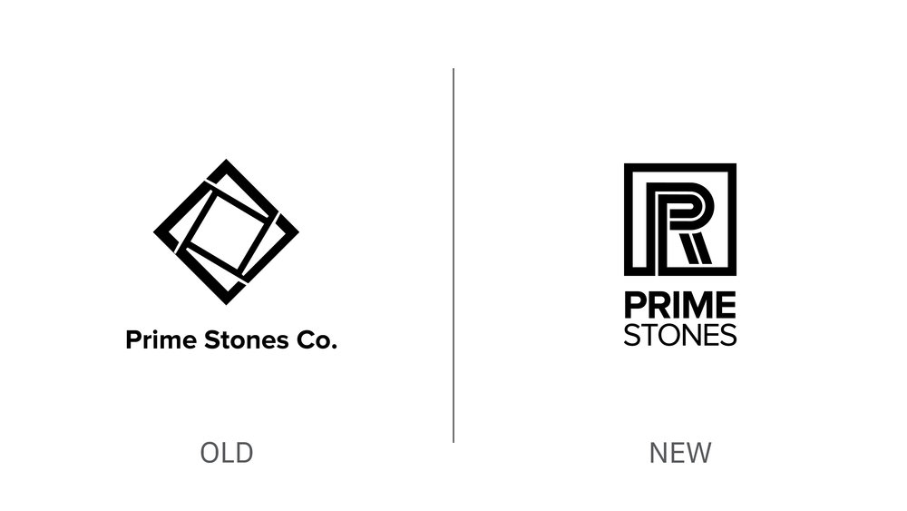 Toronto Brand strategy Design Consultancy studio – Prime Stones rebranding – Logo structure before and after