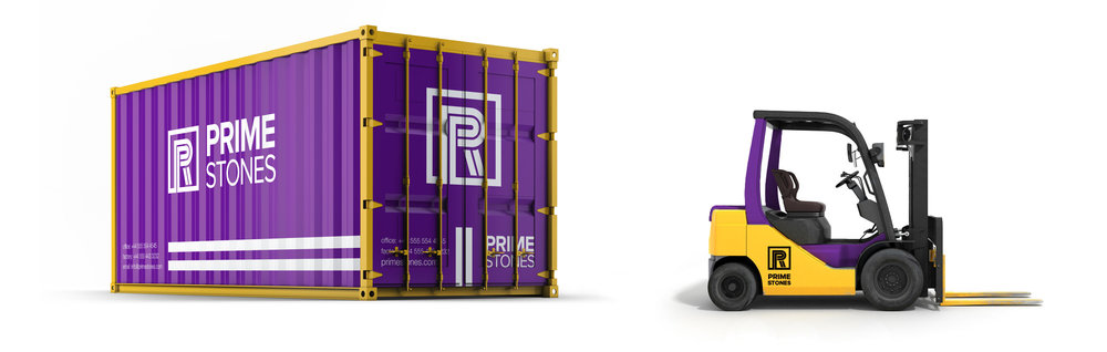 Toronto Brand strategy Design Consultancy studio – Prime Stones rebranding – Vehicle Livery design for shipping container and forklift