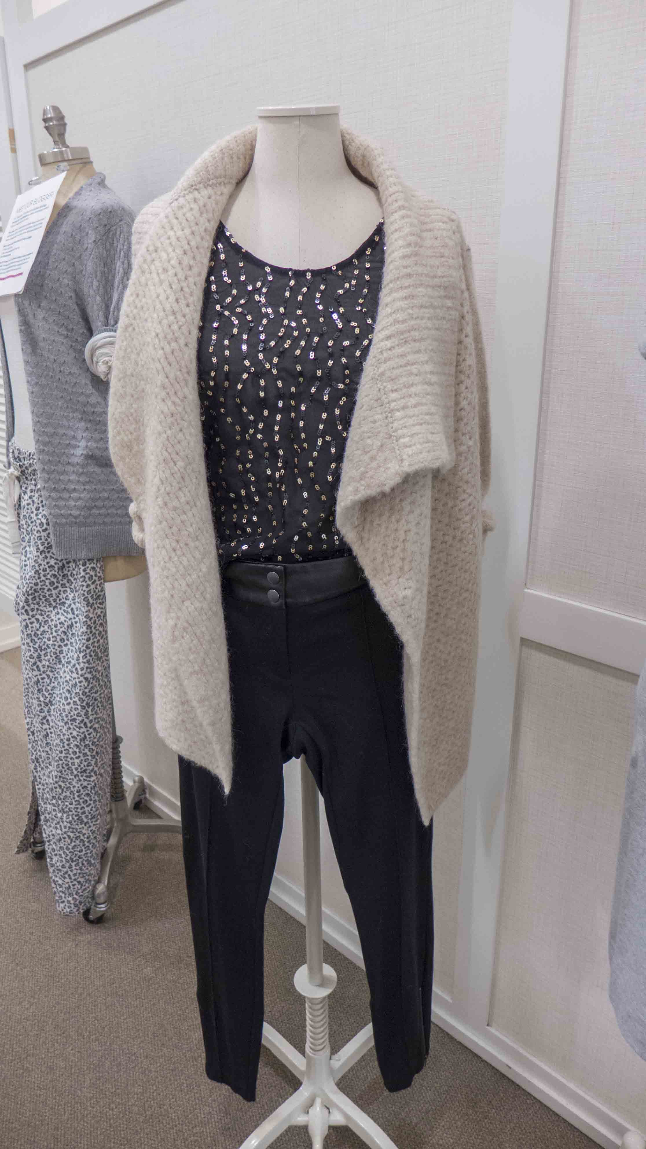 Loft drape hem open cardigan_wavy sequin top_marissa faux leather trim leggins