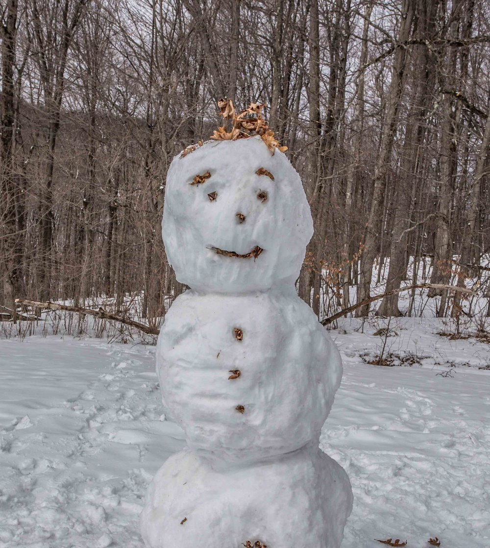 Embracing the snow, a few of the kiddos made a snowman.