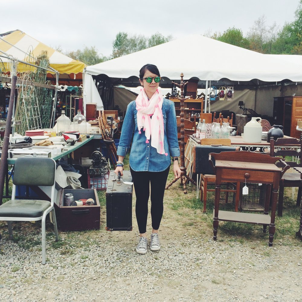 "Finally, I made it to the  Brimfield Antique Show ! After years of enviously hearing about other people's trips to the show and all the great pics on IG, I decided that it was time I put this event on my calendar. So, this past Saturday, my friend Steph G and I jumped into my Mini and headed to the antique show where we met up with my friend Steph W, who drove in from Brooklyn. We spent about 4.5 hours browsing the varied wares offered by hundreds of vendors; definitely something for everyone. I think I spent half of the time there asking: ""what is this"" or ""what does that do?"" Luckily the vendors didn't seem too annoyed with me as I'm sure they get those same questions all day long. And the furniture! So many pieces I wanted to bring home but because Dan and I live in a 725 square foot condo and I drive a Mini, I could only dream about where they could go if we had more space. Anyhow, here are a few snaps from my day trip to the show. You bet I'll be going back for more!"