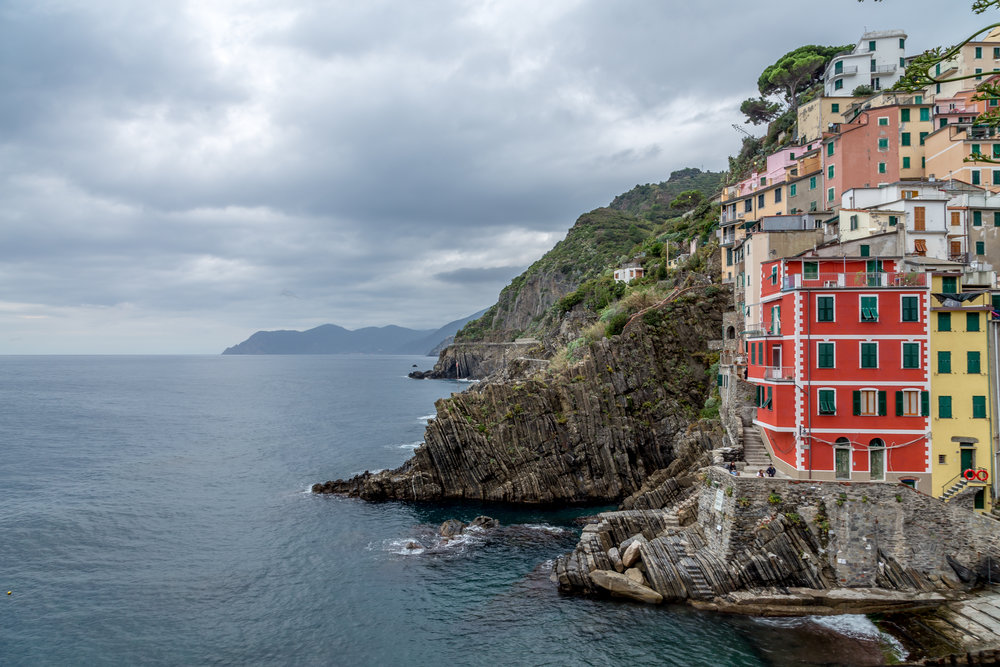 Dan and I spent the first night in Riomaggiore at a small inn. When we arrived, the sun was just about setting, so we raced to capture a few photos before it got too dark. I absolutely adore the colors of the houses.