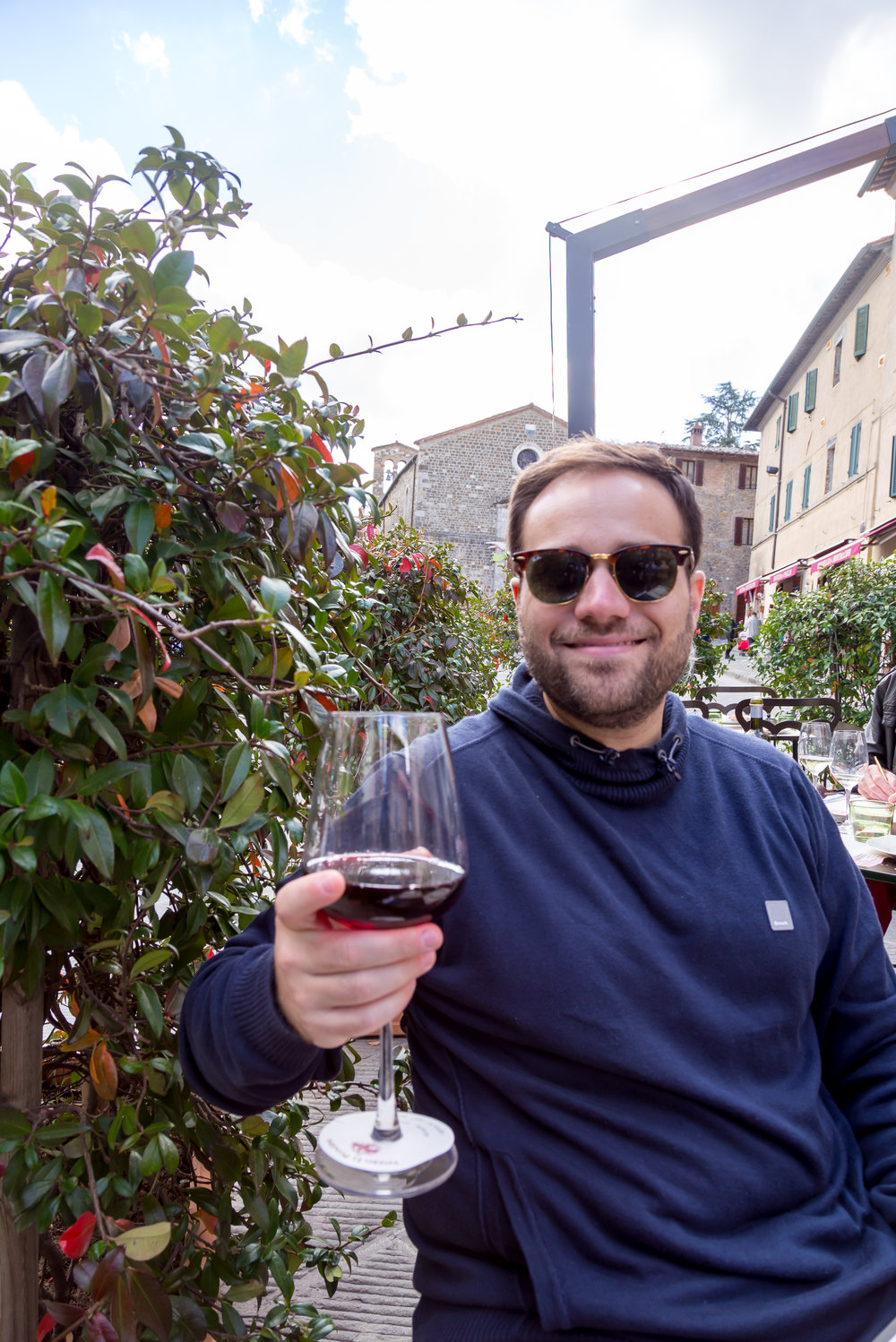 Stopped in Montalcino to try some Brunello wine, with yet another meat and cheese platter.