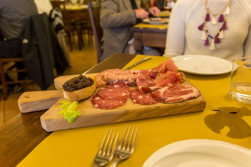 A friend had recommended  La Taverna di San Giuseppe  for lunch. It was ah-mazing. Pictured above is a mixed board of meats. My fave thing on the board is in the upper left hand corner. It's best described as hot pate.