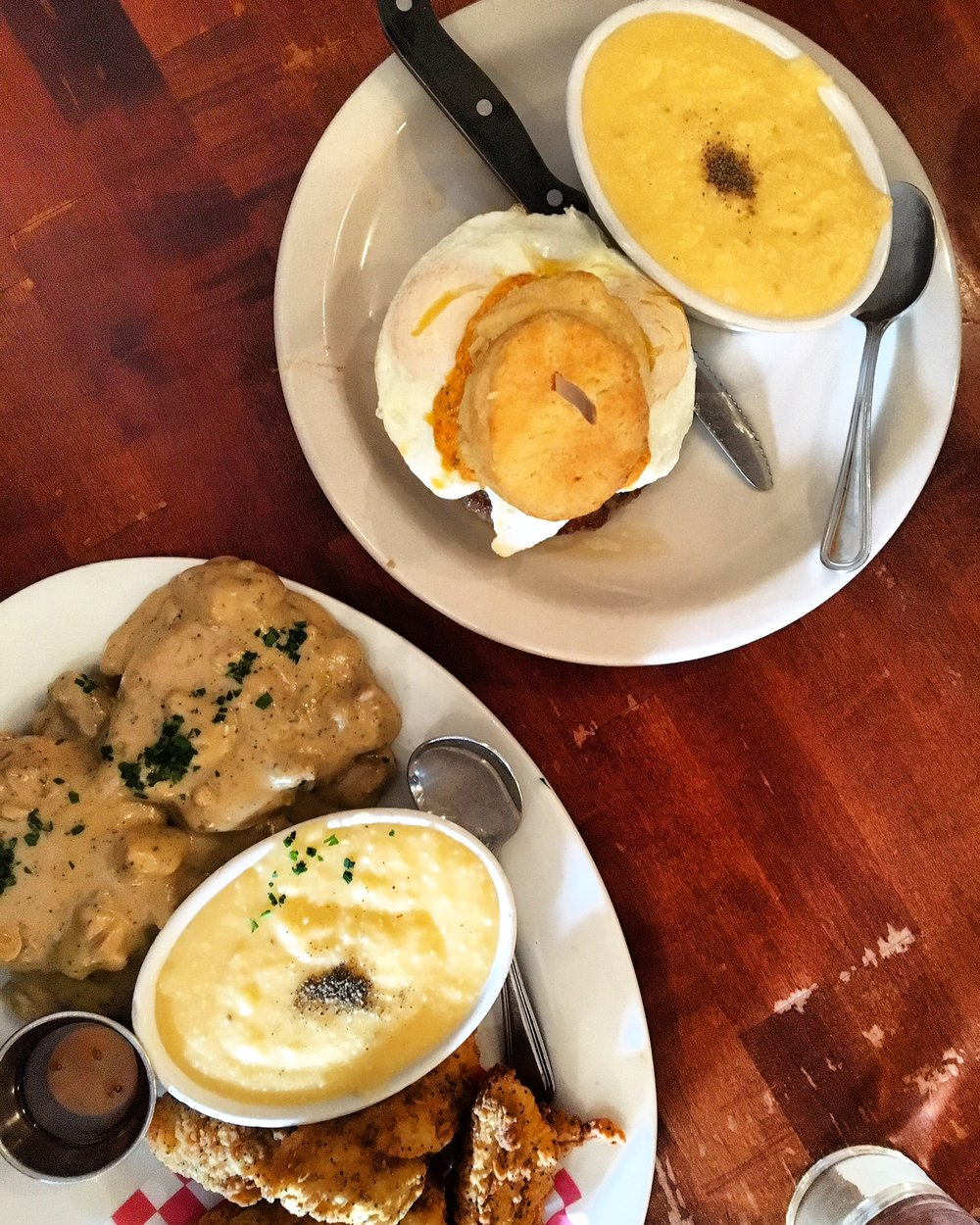 So back to breakfast. I had two biscuits with sausage gravy and a side of cheddar grits. Dan had a pimento cheese & sausage biscuit sandwich. Four thumbs up on this meal!