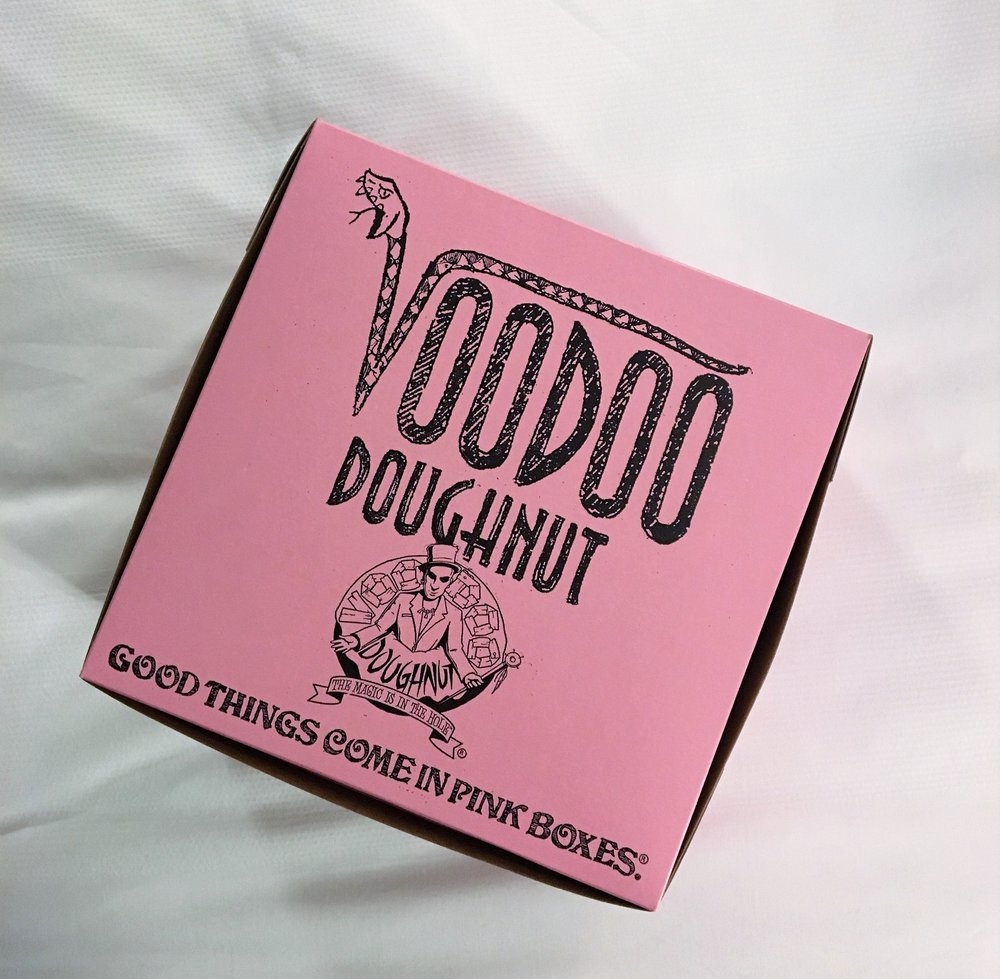Immediately after landing and picking up our car, we headed straight for  Voodoo Doughnut . It was actually the best idea we had. Since it was late and a bit rainy, there was barely a line. We got three donuts to share (a chocolate crueller, an apple fritter and a fruit loops donut). The doughnuts were decent (not the BEST I've ever had), but it's defn worth going for the experience.