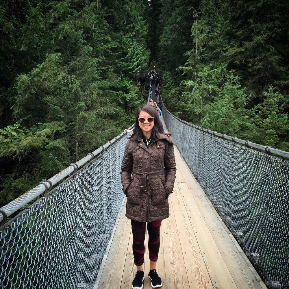 After our bike tour, we decided to go see the  suspension bridge . It was pretty cool. But to be honest, the price of the tickets were pretty steep. Part of us wish we had gone over to Grouse Mountain instead. No biggie, though!