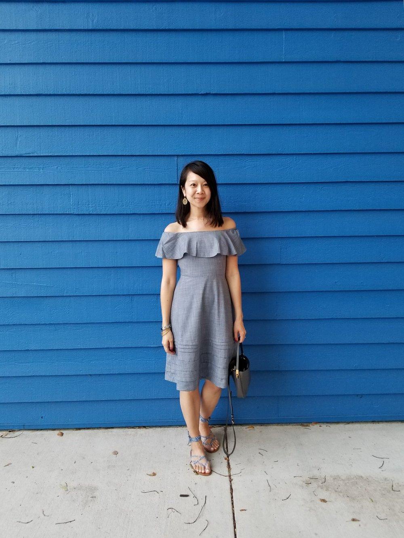 OTS Chambray Dress:  Banana Republic , $128; Sandals: c/o  M.Gemi .