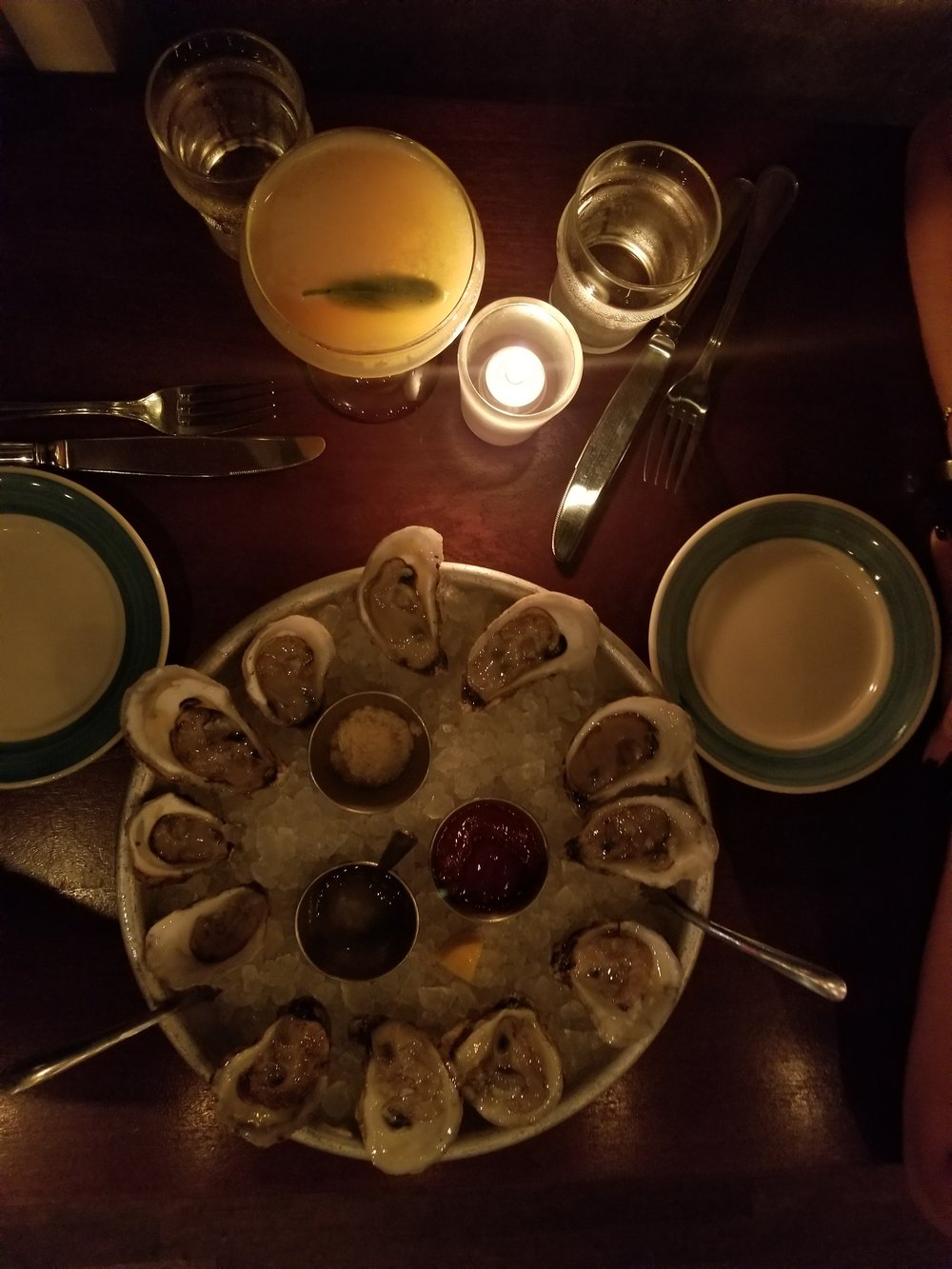 The Darling Oyster  is just that - darling. The food was excellent. Once again, we started with a dozen delicious oysters. We then split the house smoked salmon dip - so yum. For our mains, Dan opted for the lobster & king crab roll and I went for seared diver scallops.