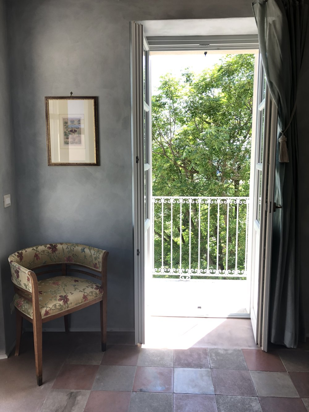 For two nights in Govone, we called  Ca Alfieri al 30  our home, a beautiful bed & breakfast run by an Italian couple. This is a small sitting area in our room with a balcony that overlooks the grounds.