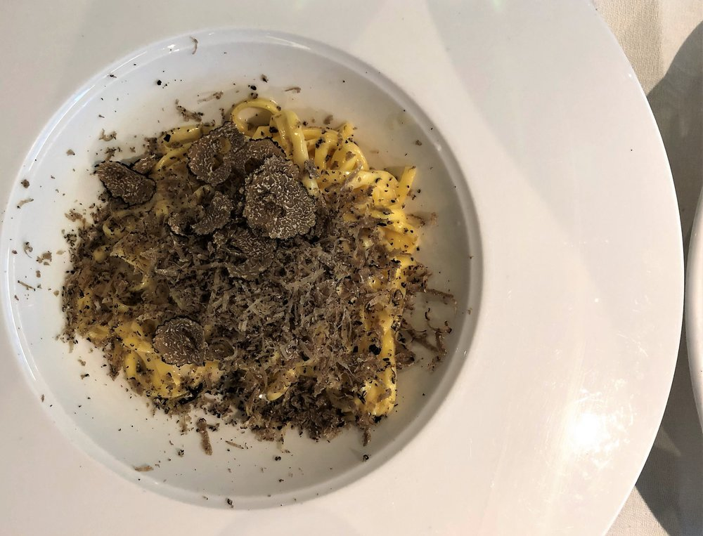 On our last night in Milan, we dined at  Tartufotto . As you can guess by its name, the restaurant specializes in all things truffle. This was my entree, basically pasta with cheese and black pepper with a healthy helping of truffle.