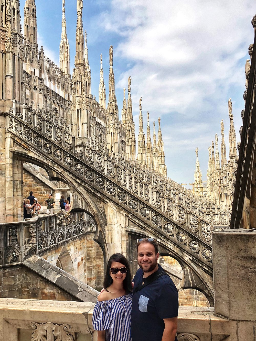 We highly recommend purchasing the ticket that allows you to visit the rooftop. Seeing the Duomo from the outside was breathtaking. I mean, look at all the detail behind us. We were also lucky to have such a perfectly clear day to enjoy it.