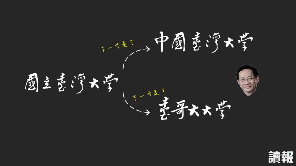 管中閔成為台大校長後,國立台灣大學遭外界質疑會變成「中國台灣大學」、「台哥大大學」。製圖:美術組