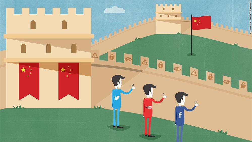 中國防火長城監控力度持續加大。圖片來源:CNN