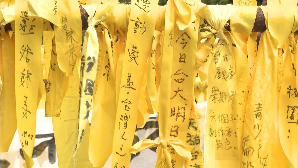台灣大學自主聯盟發起黃絲帶運動,宣稱「捍衛大學自治」。圖片提供:民視新聞