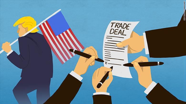 美國總統川普日前在宣布美國退出TPP,如今可能重返。圖片來源:CNN Money