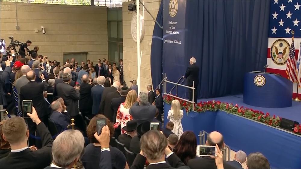 美國駐以色列新大使館正式揭幕。圖片來源:CNN