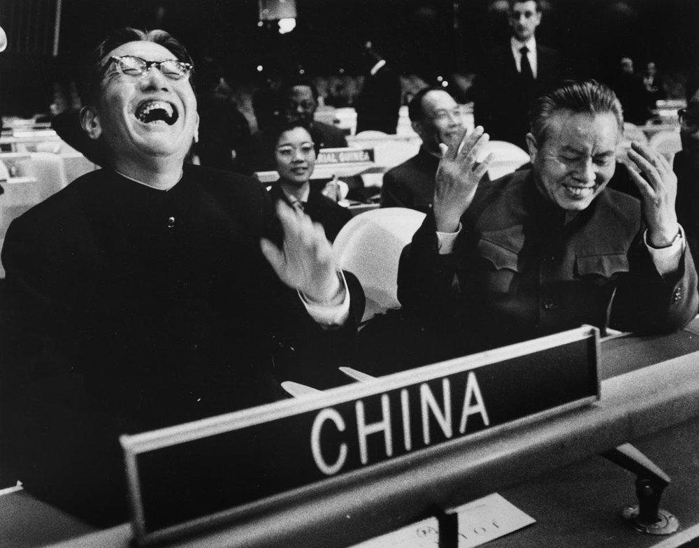 中華人民共和國在聯合國上,正式驅逐「蔣介石代表」的歷史畫面。圖片來源:新華通訊社