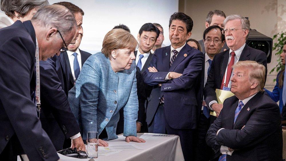 美國總統川普與G7其他六國鬧翻。圖片來源:Angela Merkel/Twitter
