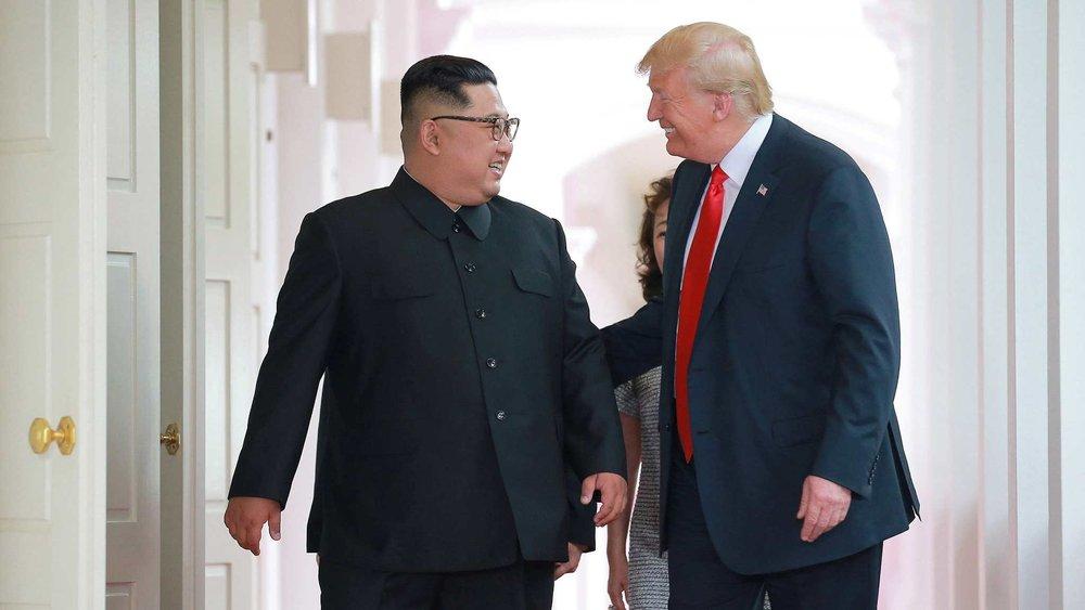 美國總統川普與北韓領導人金正恩昨(13日)於新加坡會面。。圖片來源:中國環球電視網