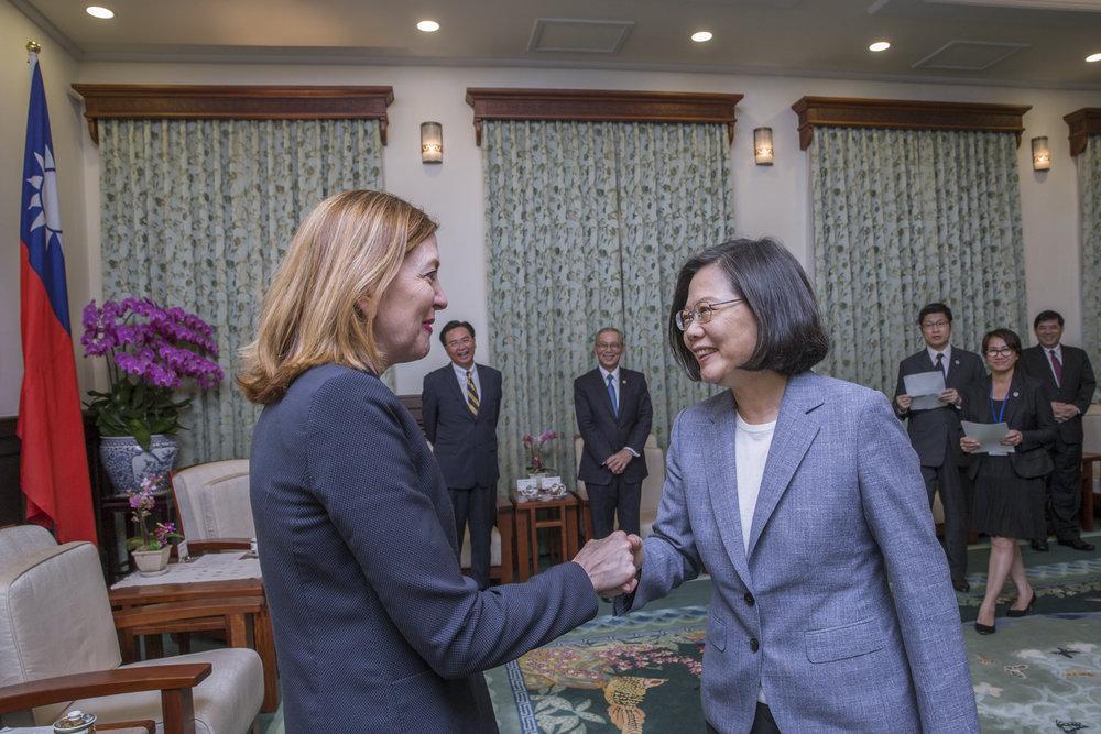 總統蔡英文接見美國國務院助卿羅伊斯。圖片來源:中華民國總統府/Flickr