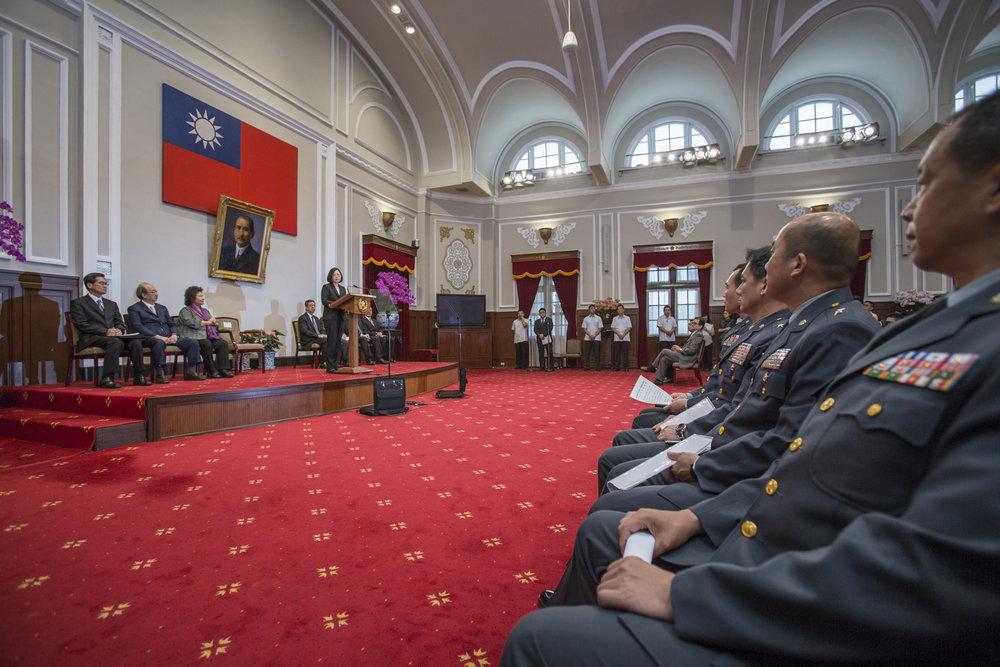 總統蔡英文針對年金改革方案通過發表談話。圖片來源:中華民國總統府/Flickr