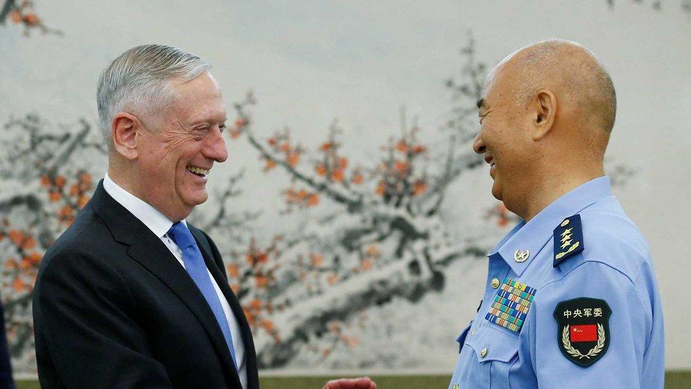 美國防長「瘋狗」馬蒂斯訪問中國。圖片來源:中國環球電視網