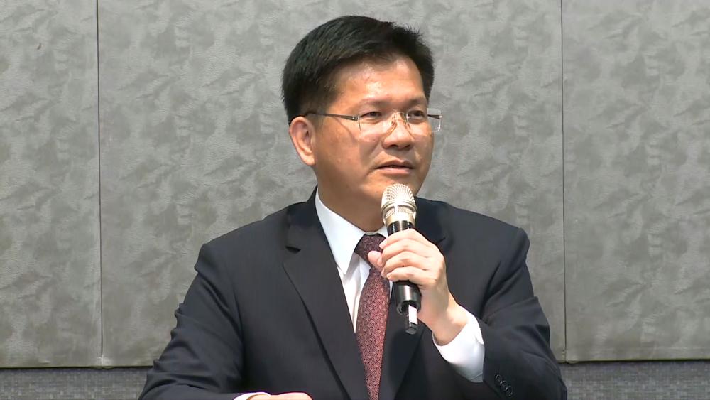 台中市長林佳龍召開國際記者會,痛批中國停辦台中東亞青運主辦權。圖片提供:民視新聞