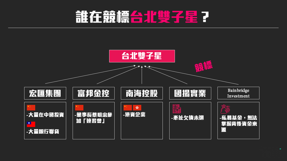 目前競標台北雙子星最有可能的五大資金。製圖:美術組