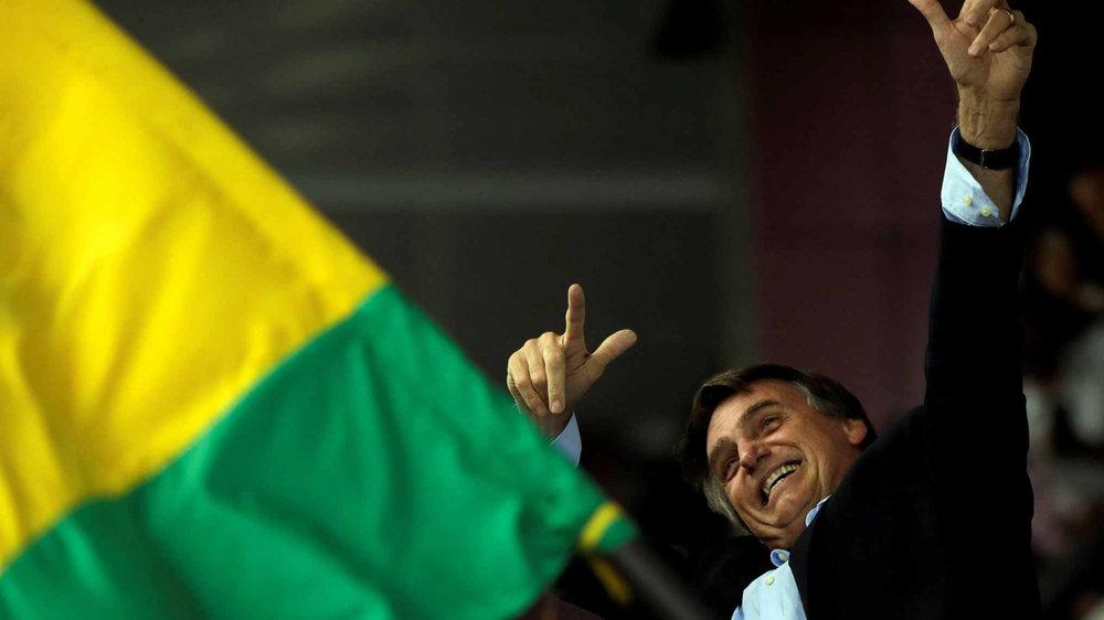 巴西右派總統候選人博爾索納羅友台立場相當明顯。圖片來源:中國環球電視網