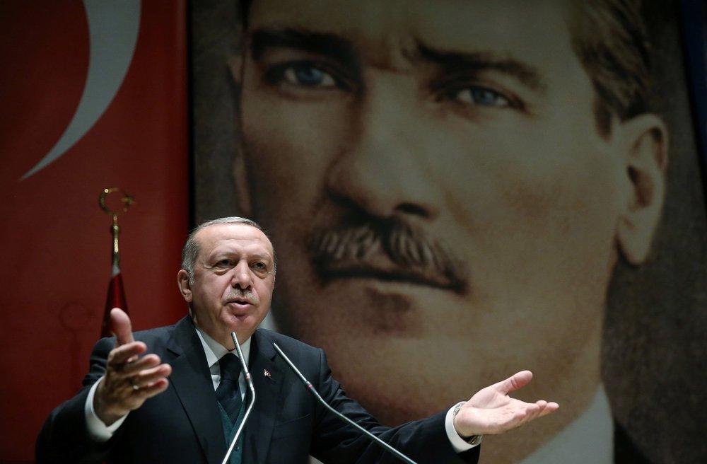 土耳其總統艾爾多安怒隱射方式,怒嗆中國與土國為敵。圖片來源:視覺中國