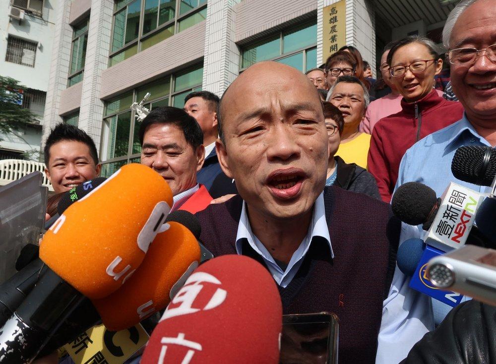 高雄市長韓國瑜形容台灣與中國的關係是「指腹為婚」。圖片來源:中央通訊社