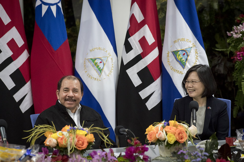 尼加拉瓜獨裁總統奧蒂嘉2017年初,與我國總統蔡英文見面。圖片來源:中華民國總統府/Flickr
