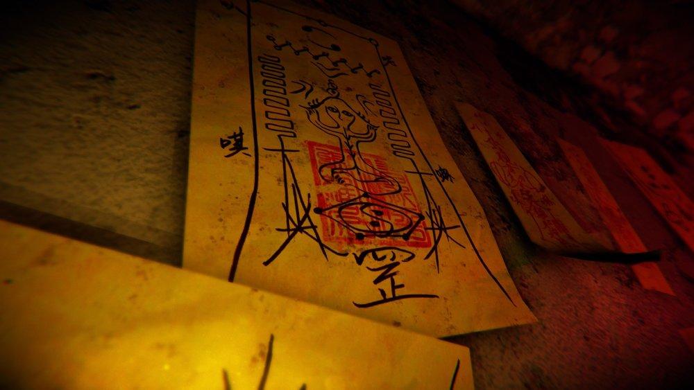 台灣產製的恐怖遊戲《還願》中,出現印有「習近平小熊維尼」印章的符咒。圖片來源:Steam