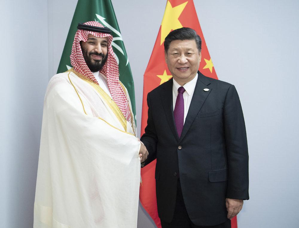 沙烏地阿拉伯王儲沙爾曼表態,力挺中國以「反恐名義」關押同為穆斯林的維吾爾人。圖片來源:新華通訊社