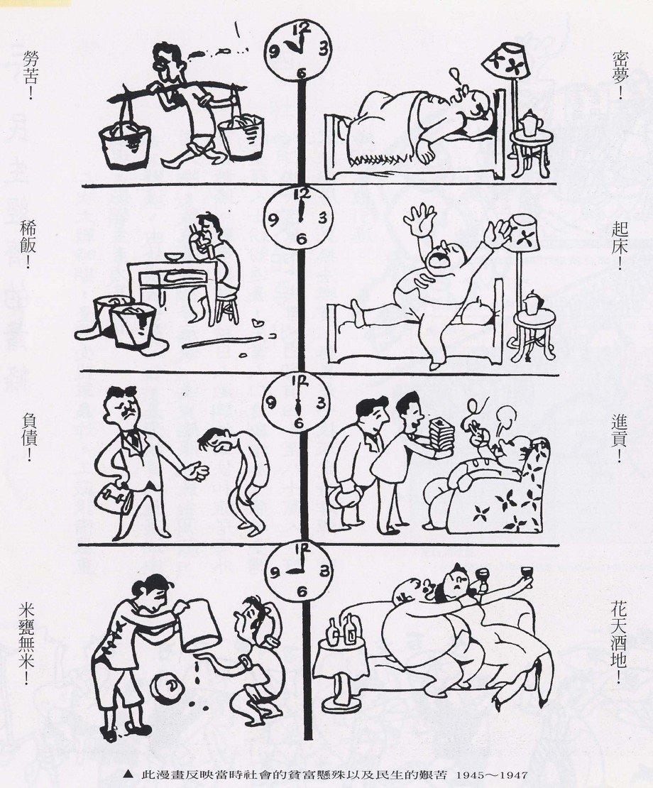《新新》月報的漫畫,反映當時台灣社會的貧富懸殊以及民生艱苦。圖片提供:李筱峰