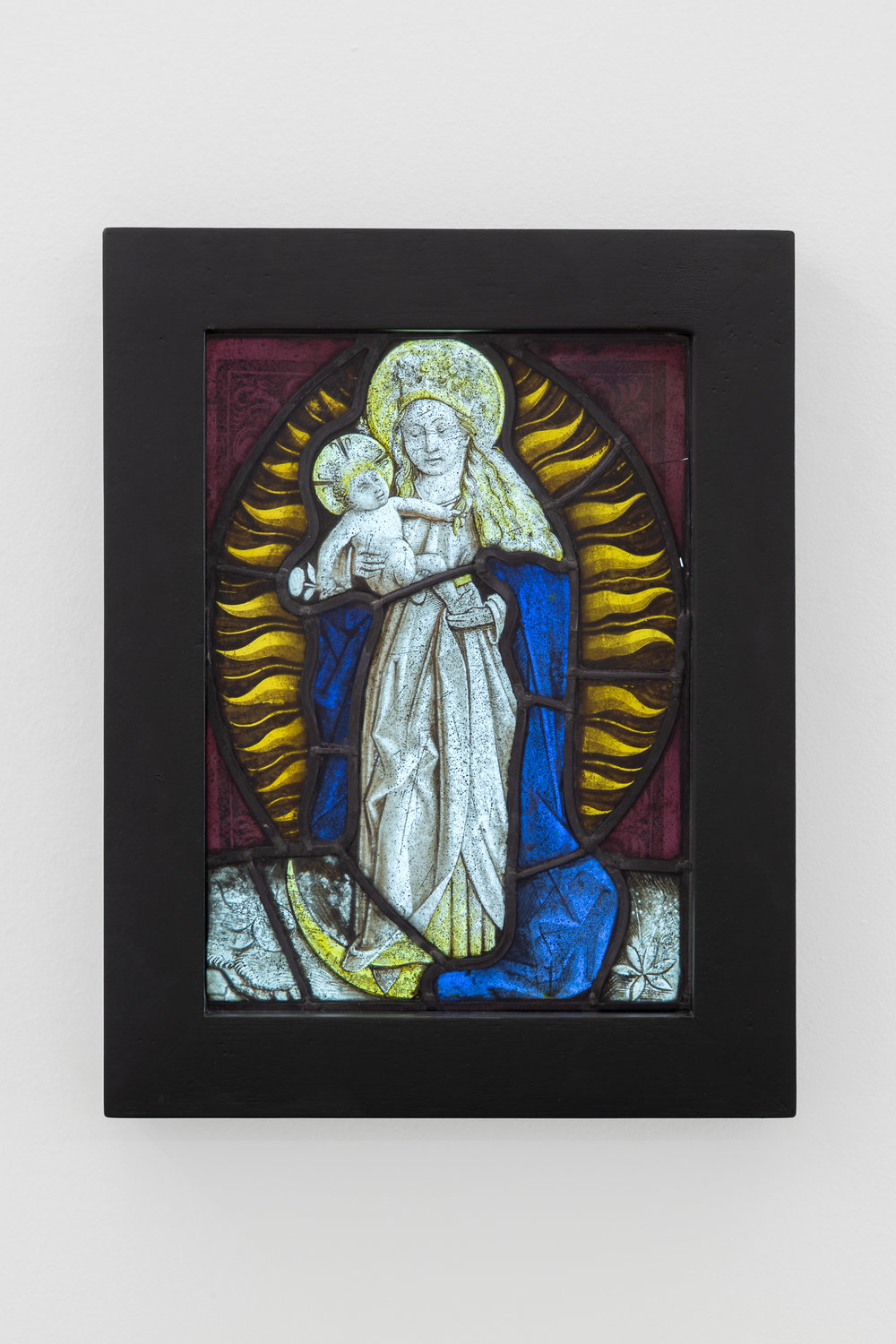 "Artist unknown, Flemish Stained glass, c. late 15th century, The Virgin is depicted as the ""Woman of the Apocalypse"", 27 x 20 cm"
