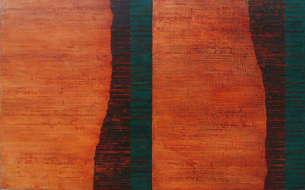 Linea Terminale: 6.12, 2012, Oil on linen over panels, 20 x 36 inches.