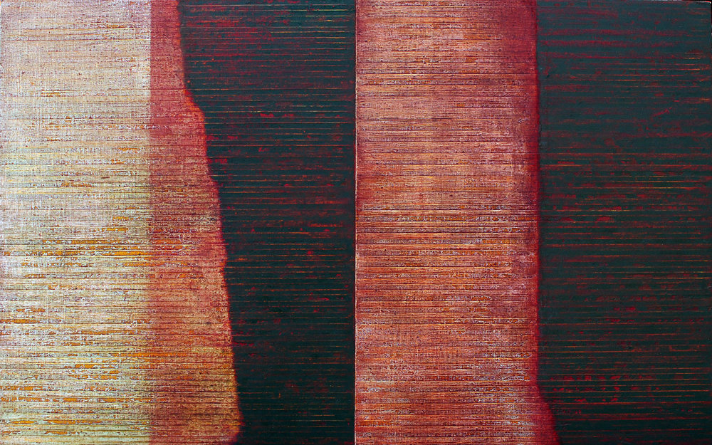 Linea Terminale: 10.12, 2012, Oil on linen over panels, 20 x 36 inches.
