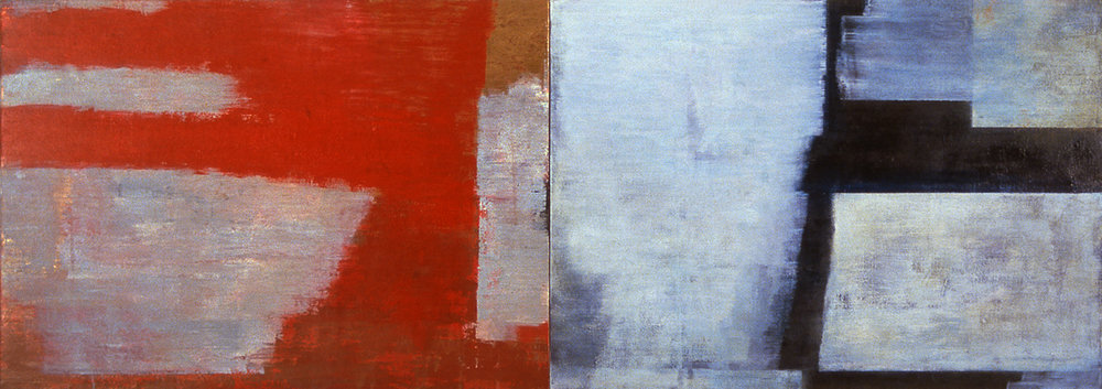 Book I, 1997, Oil, acrylic on canvas over panels, 24 x 68 inches.