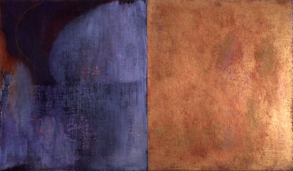 Hymn , 1998. Oil, acrylic on linen over panels, 28 x 48 inches.
