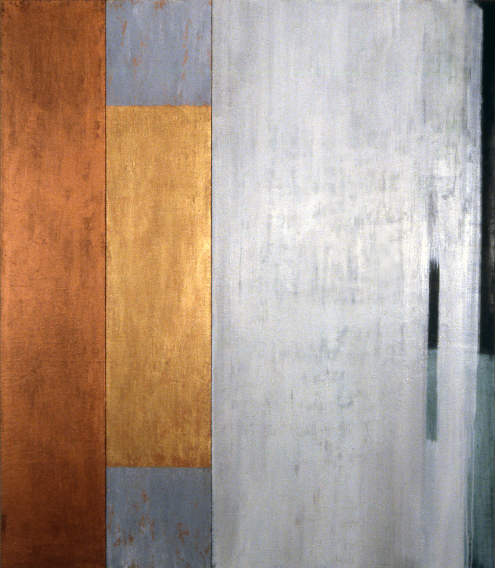 Duo, 1993, Oil, acrylic on canvas over panels, 48 x 52 inches.