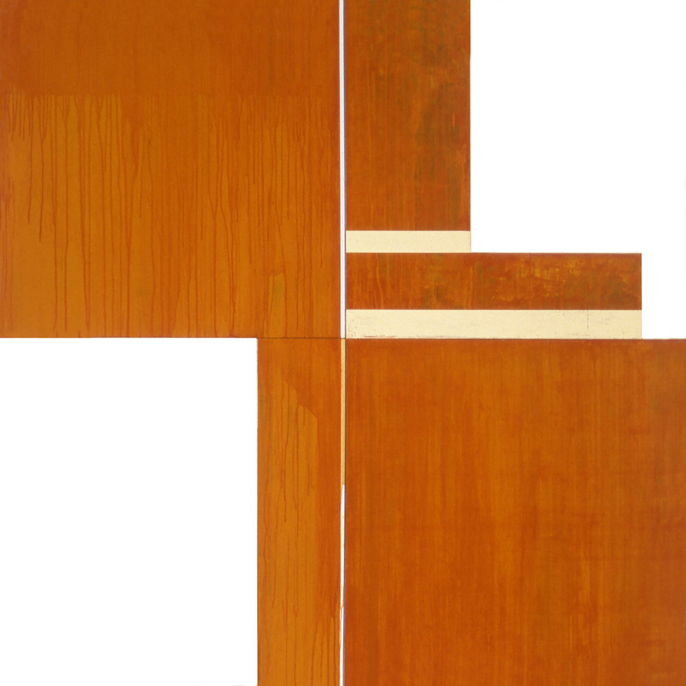 Divided Square 58, 1989, Acrylic on canvas over panel and wood, 72 x 72 inches.