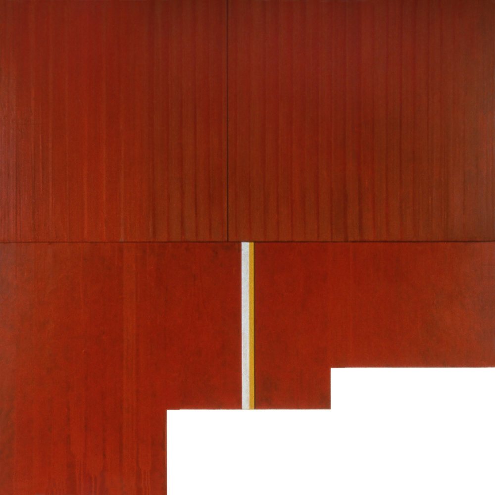 Divided Square 59, 1989, Acrylic on canvas over panel and wood, 72 x 72 inches.