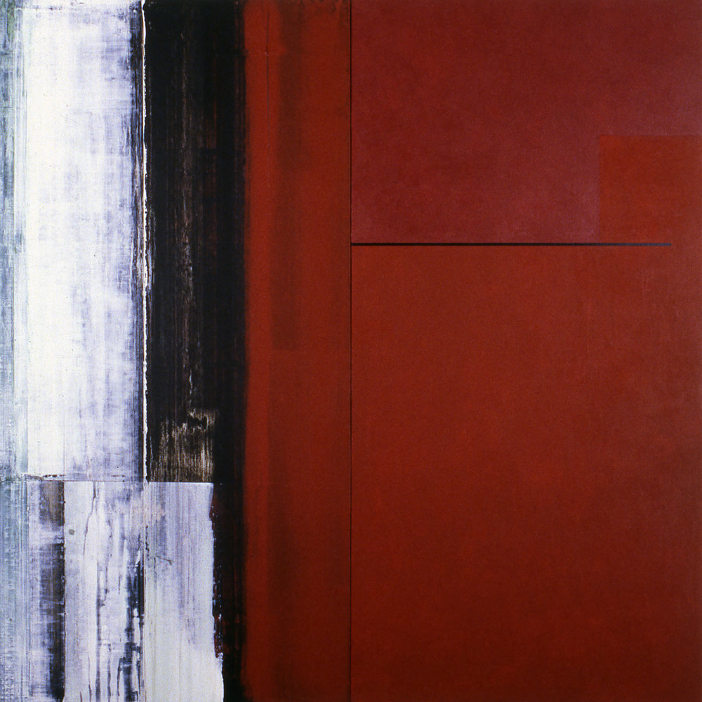 Janus XXVIII, 1987, Acrylic on canvas over panels, 48 x 48 inches.