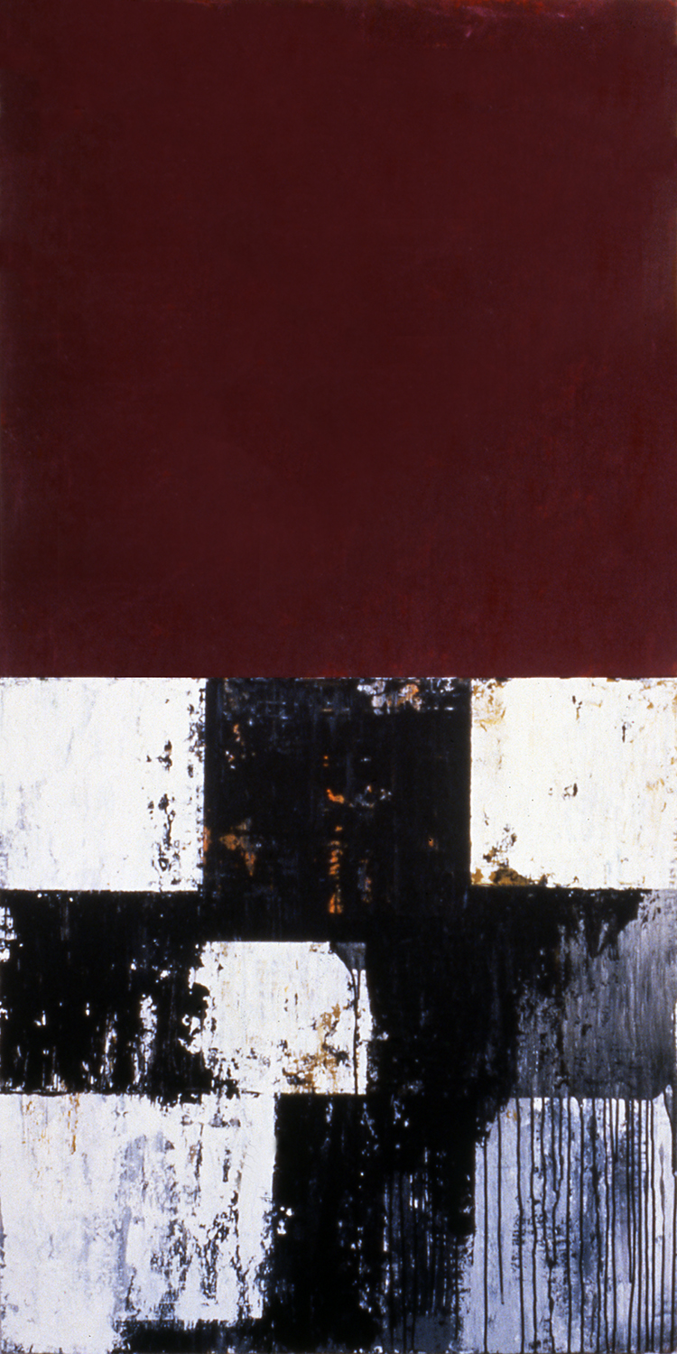 Cross, 1991, Acrylic on canvas over panels, 72 x 36 inches.